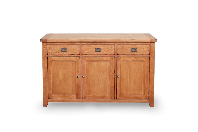 Chunky Rustic Oak Sideboard 3 Drawers FSC Certified
