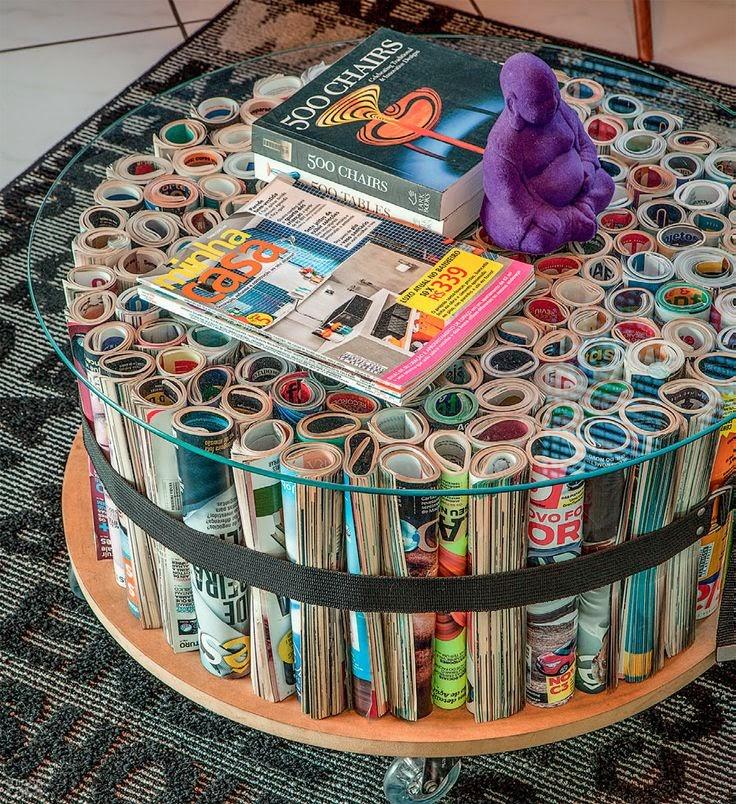 Fazer mesinha de centro aproveitando revistas