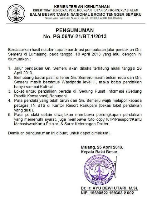Jalur Pendakian Gunung Semeru Kembali Dibuka Untuk Umum Mulai Tanggal 26 April 2013