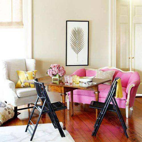 classic living room with yellow and pink