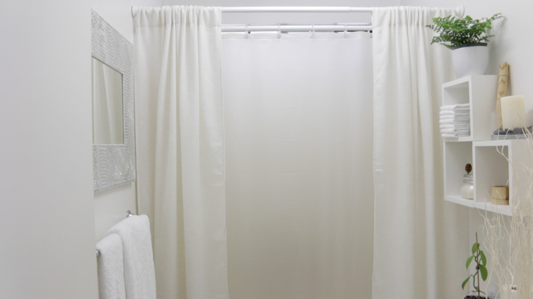 DIY Linen Fabric Shower Curtain