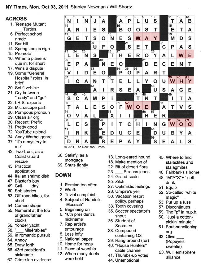 The New York Times Crossword In Gothic 10 03 11 The First Monday In October