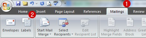 buka menu mailing ms word
