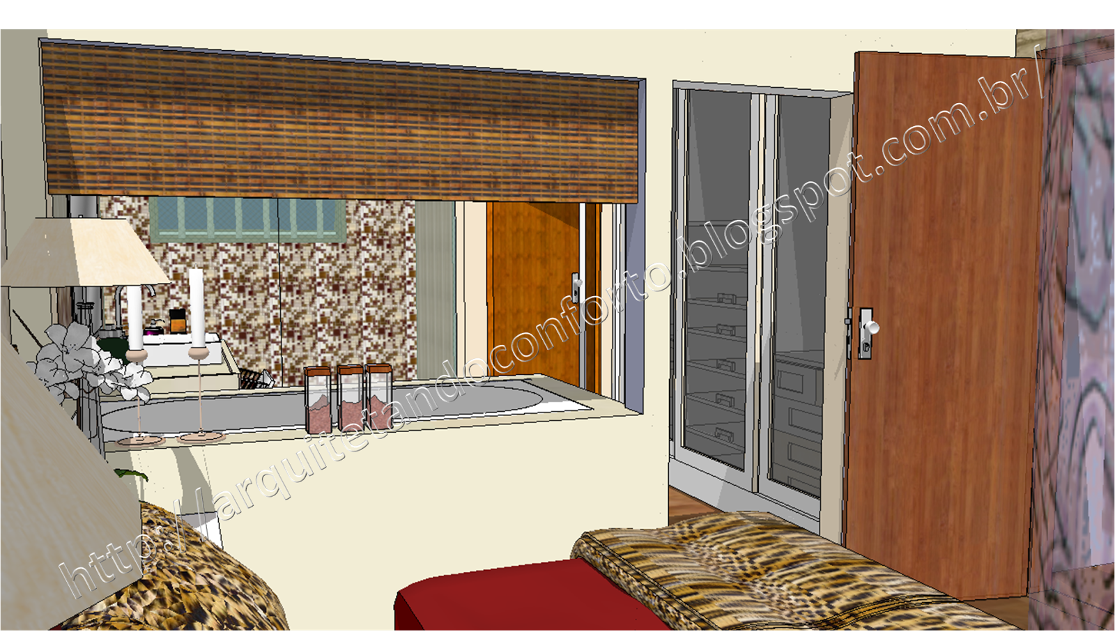 Arquitetando Conforto: Quarto Conforto e praticidade #996C32 1600x907 Banheiro Com Banheira Integrada