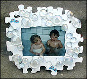 Puzzle piece bubbles photo frame