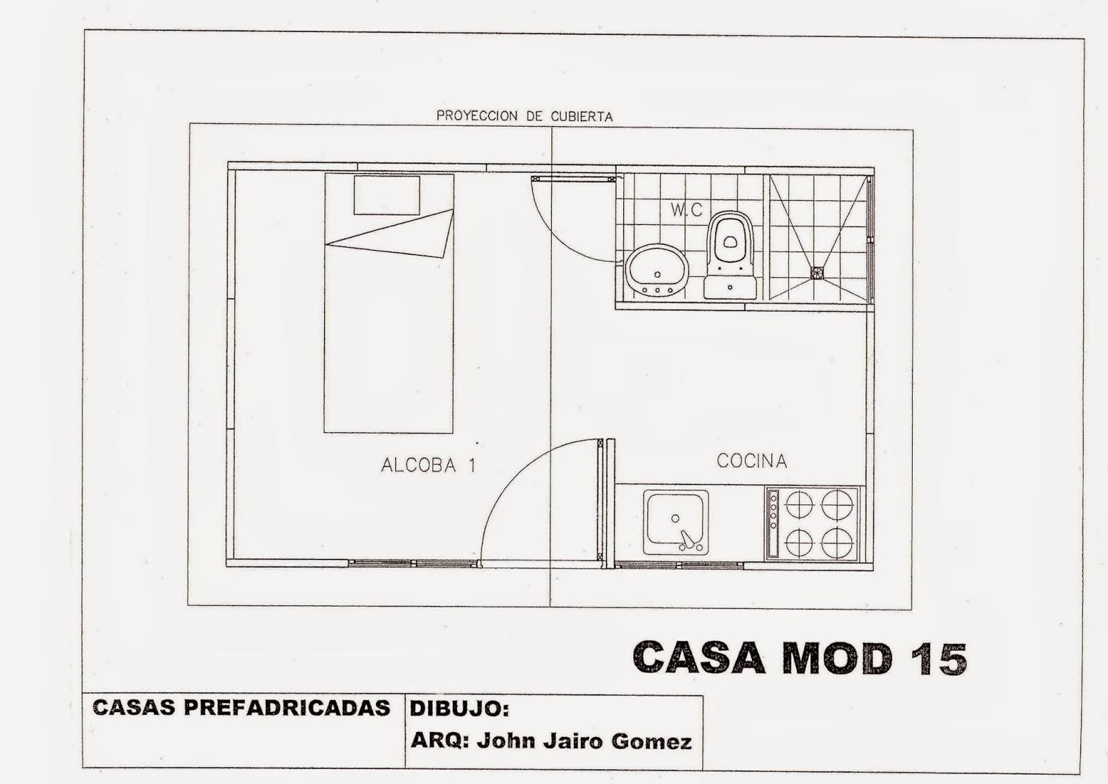 Casas prefabricadas cali colombia for Planos de cocinas de 15 metros cuadrados