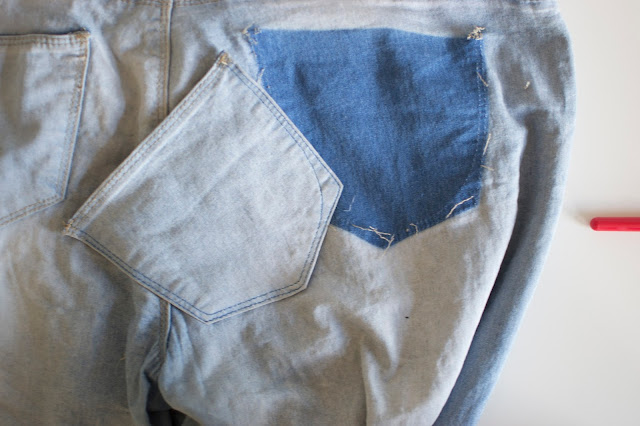 Removing back pockets from jeans