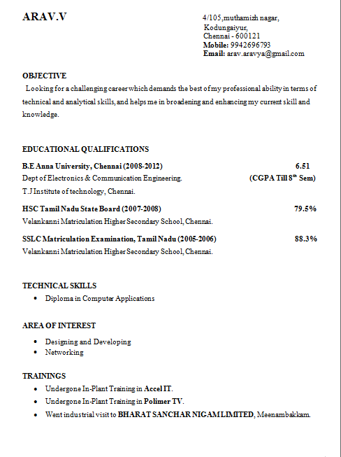 10) Final Year Engineering Student Resume Format:   Student Resume Format