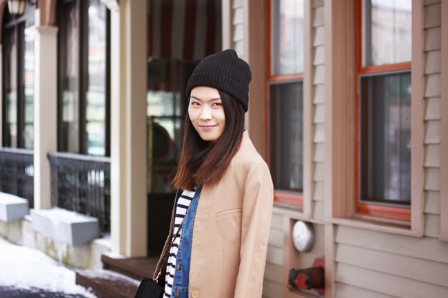 outfit layers, winter outfit, spring, hm camel coat, denim jacket, hm black boots, hm black beanies, rebecca minkoff black mini tote, fashion blogger, street style