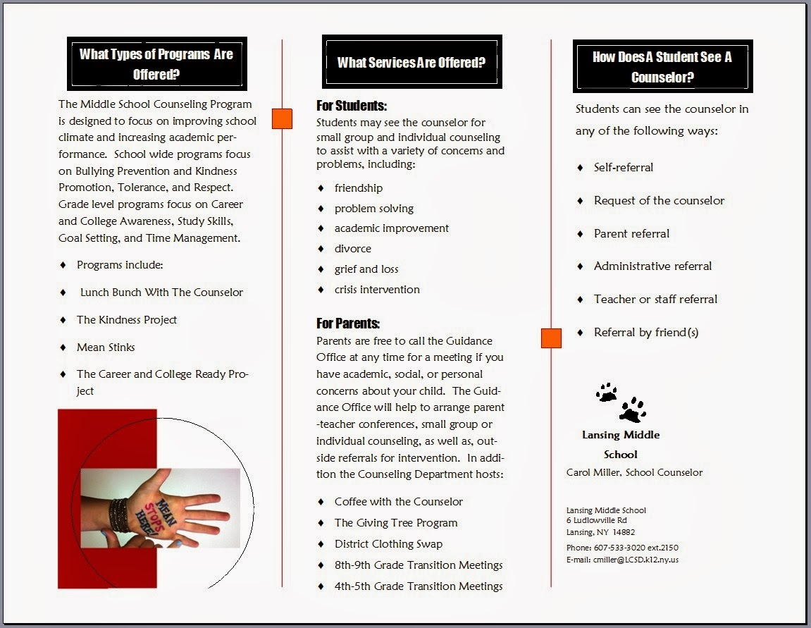 Handouts a school counselor 39 s best friend the middle for Counseling brochure templates free