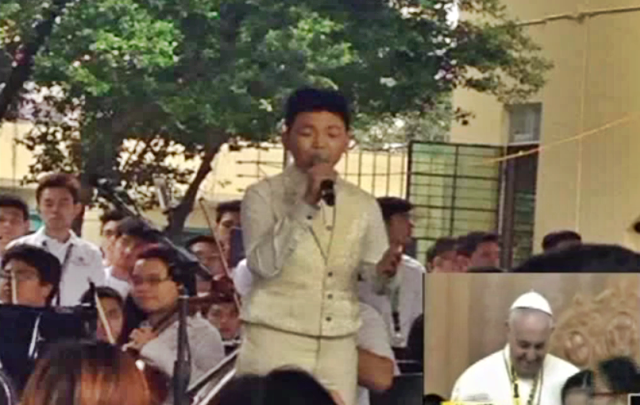 DARREN ESPANTO, Song for Pope, Pope Francis, Tell The World Of His Love Sang a song Pope