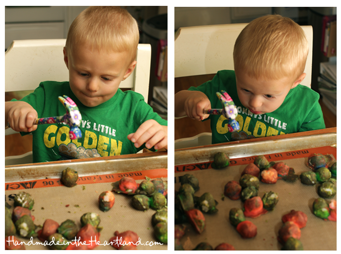 Toddler Activities: Baked Cotton Balls