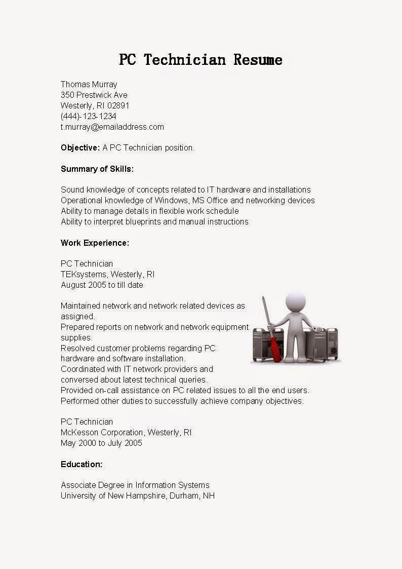 resume samples  pc technician resume sample
