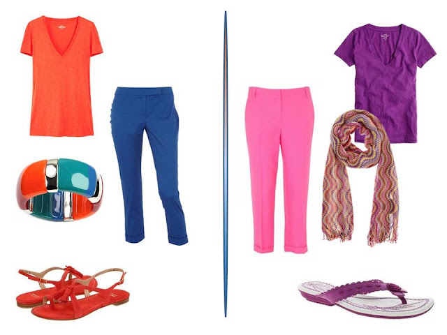 orange tee shirt with blue pants, and a purple tee with hot pink pants