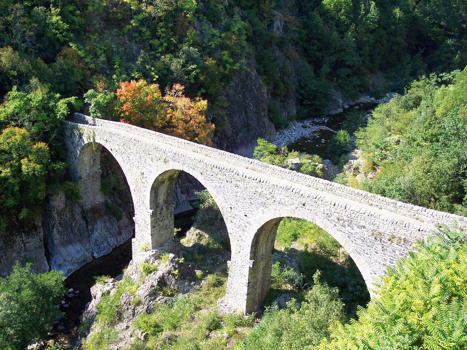 Ardeche region, France, medieval bridge