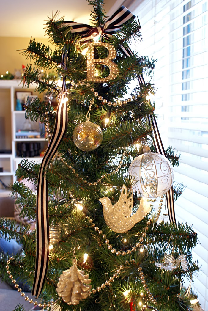 black white and silver Christmas tree