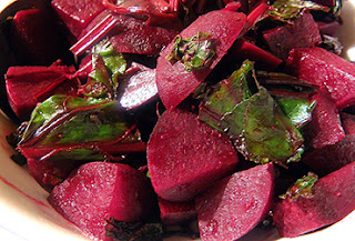 Closeup of Balsamic Beets with Greens