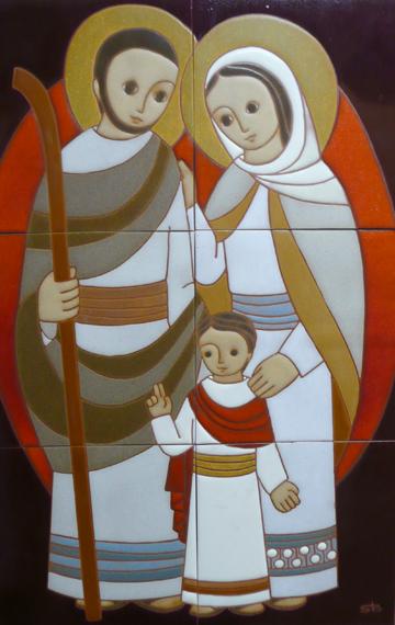 Desideria im genes de la sagrada familia jos y mar a con jes s humano y divino azulejos - Divinos pucheros maria jose ...