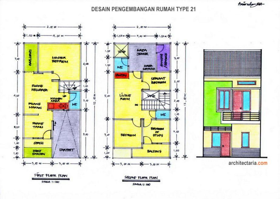model denah type 21 mungil 1 lantai populer