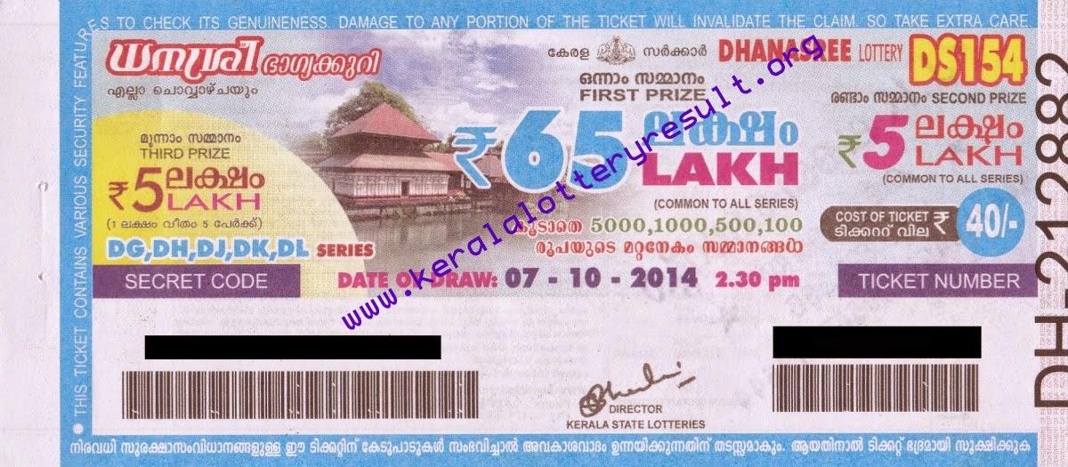 Kerala State DHANASREE Weekly Lottery