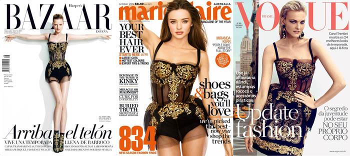 VENTOS BARROCOS_harper's bazaar_Marie Claire_Vogue_carol trentini_vestido estilo barroco_vestido dourado Dolce & Gabbana_Miranda kerr
