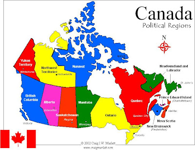 Carte du Canada Departement Région