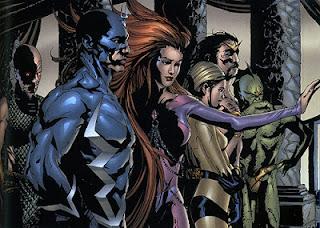 Ilustração de Karnak, Raio Negro, Medusa, Crystal, Gorgon e Triton por Jae Lee para a série de histórias em quadrinhos Inumanos