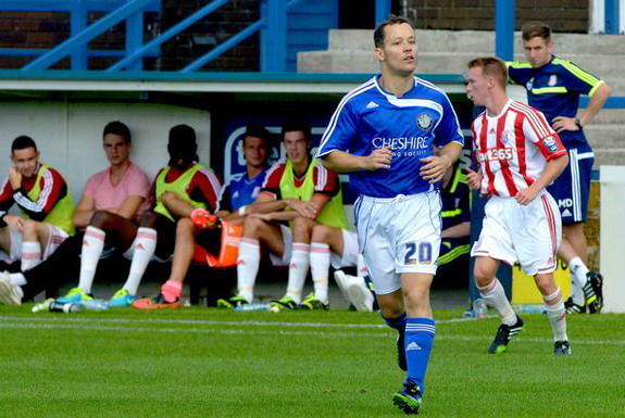 Businessman James Gorfin turns out for Macclesfield in a pre-season against Stoke