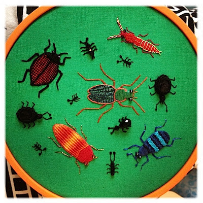 Broderi. Stumpwork biller og myrer. Stumpwork beetles, ants, bugs.