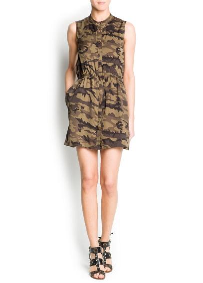 asker yeşili kısa düğmeli elbise