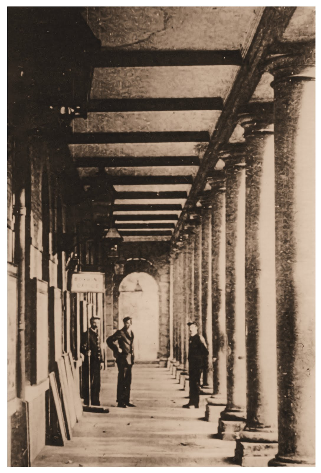 Inside colonnades
