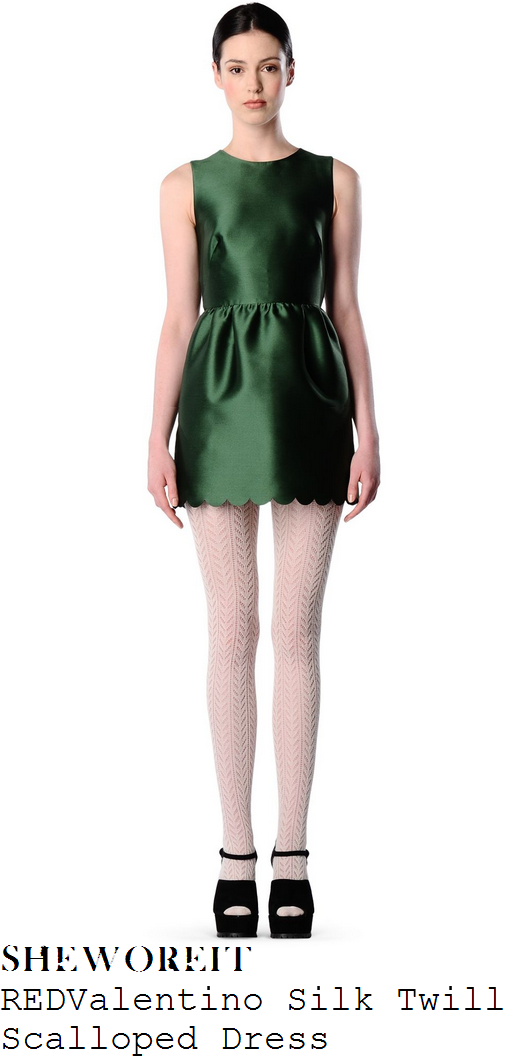 caroline-flack-green-sleeveless-scallop-hem-mini-dress-x-factor