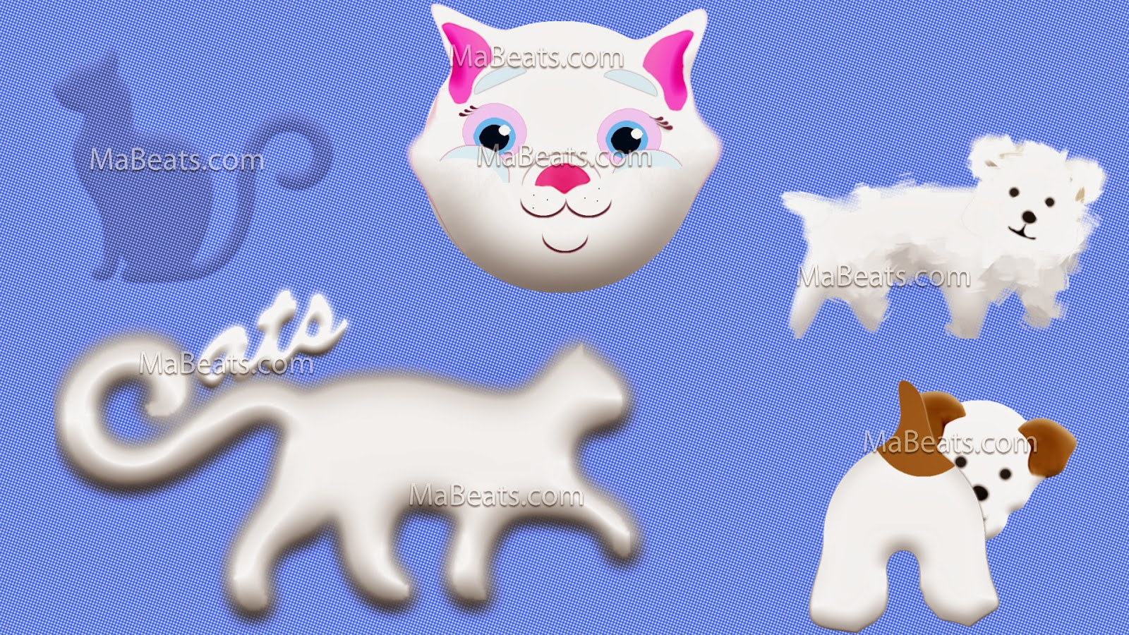 Cats wins the dogs, cat vector, white cat, white furry dog