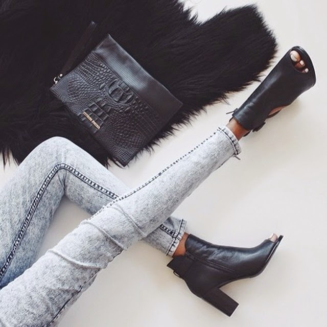 open toe booties + jeans