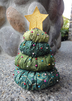 my completed Christmas Tree Pincushion from Shabby Fabrics