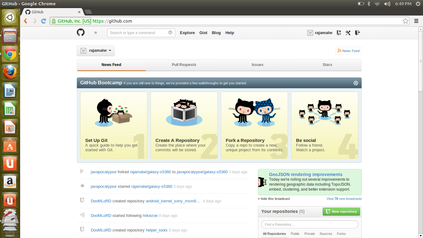 github in linux, how to use github