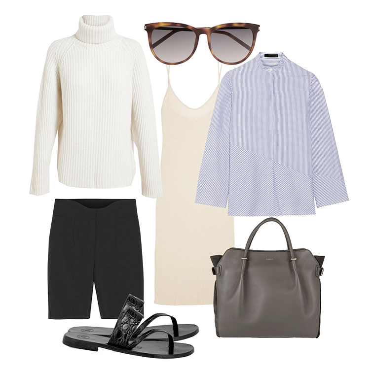 Antonio Berardi white turtleneck The Row pinstripe shirt Agnona shorts Nina Ricci tote bag Saint Laurent sunglasses Alvaro croc sandals Back Label nude cami