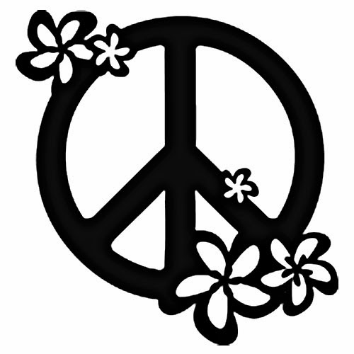Peace sign with flowers tattoo stencil