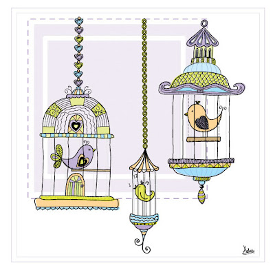Purple birdcages