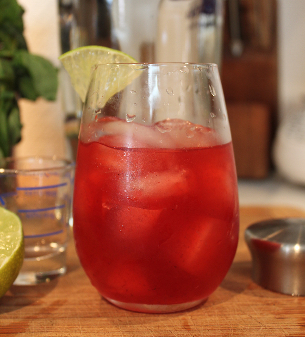 blackberry shrub, basil and lime cooler