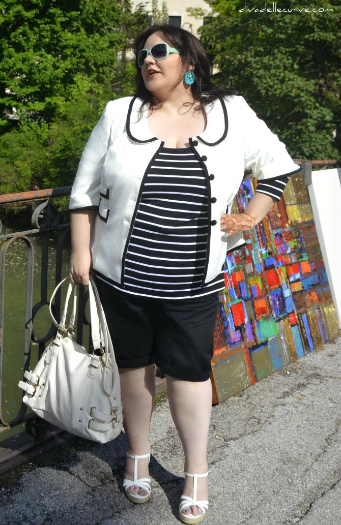 outfit taglie comode bianco e nero
