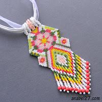 купить кулон из бисера этнические украшения с цветочным орнаментом