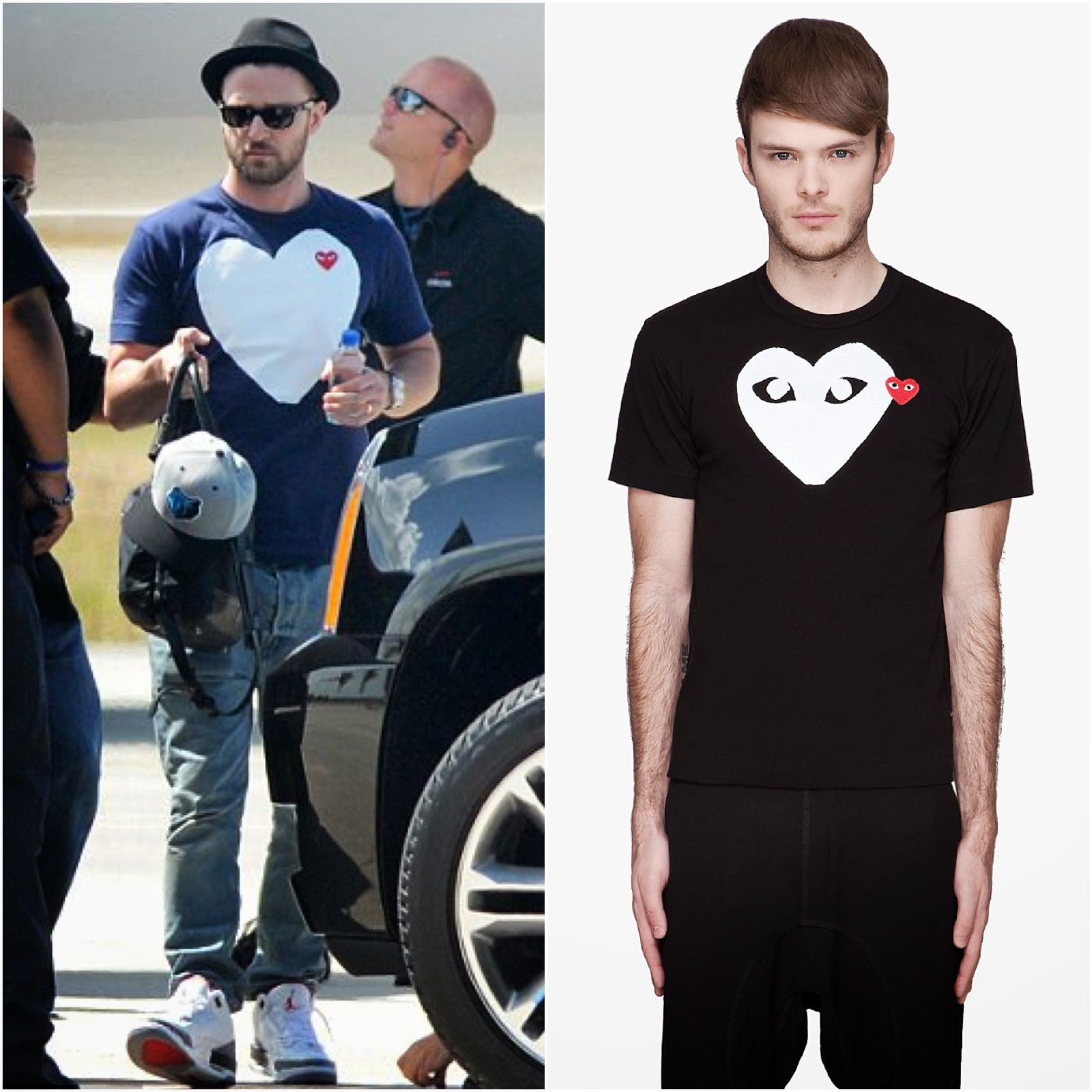 00O00 Menswear Blog http://00O00.blogspot.com Justin Timberlake in COMME DES GARÇONS PLAY - Miami August 2013