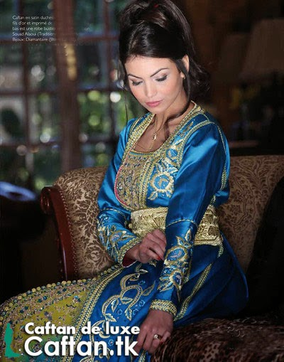 Caftan marocain bleu-d'or    Amazing style