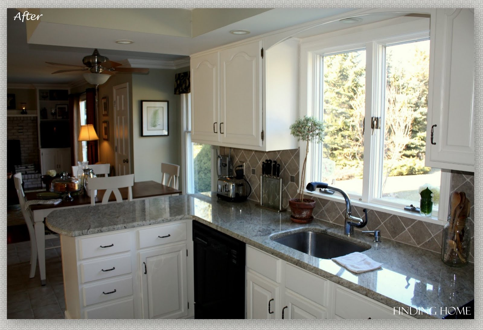 Remodelaholic from oak to beautiful white kitchen for Before and after painting kitchen cabinets white