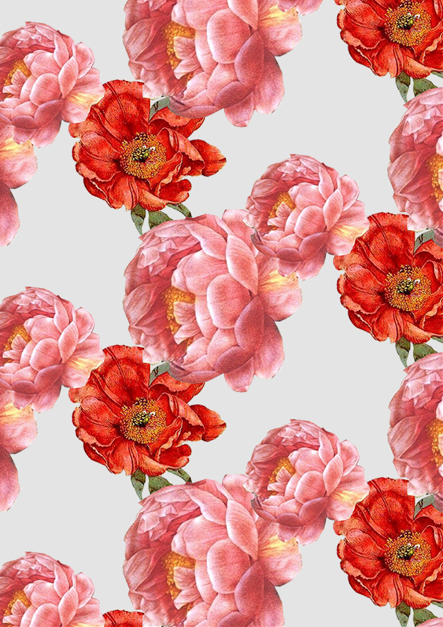 Vintage Floral Pattern With Pink And Red Flowers