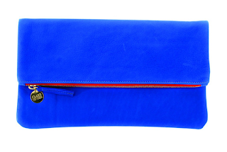 Clare Vivier cobalt foldover clutch
