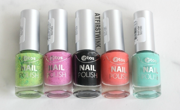 etos nail polishes green pink glitters black bar glitters coral and mint sugar
