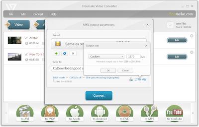 Free Video Converter - Tamanho de saída personalizado