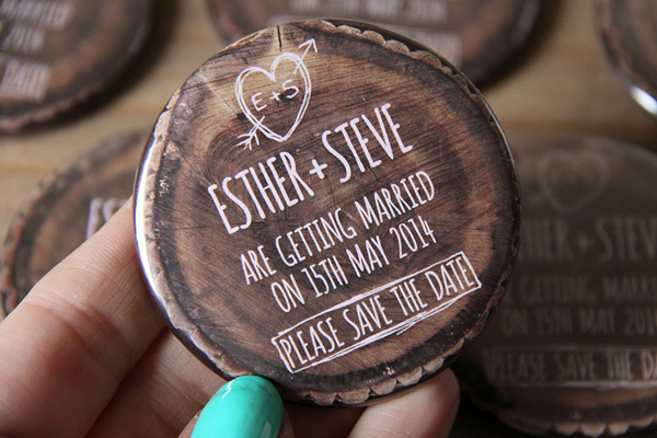 etched in wood, save the date